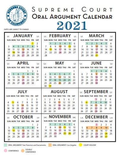 2021 Supreme Court Calendar