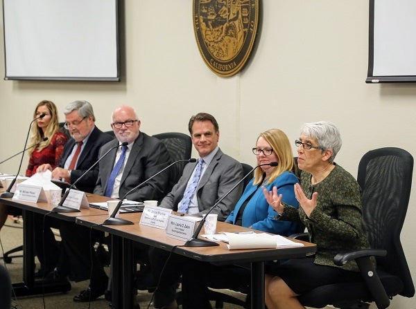 Justice Laurie Zelon speaks on a panel at an event on increasing access to the court system