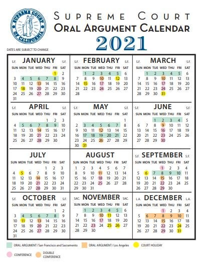 supreme court calendar with months of 2021