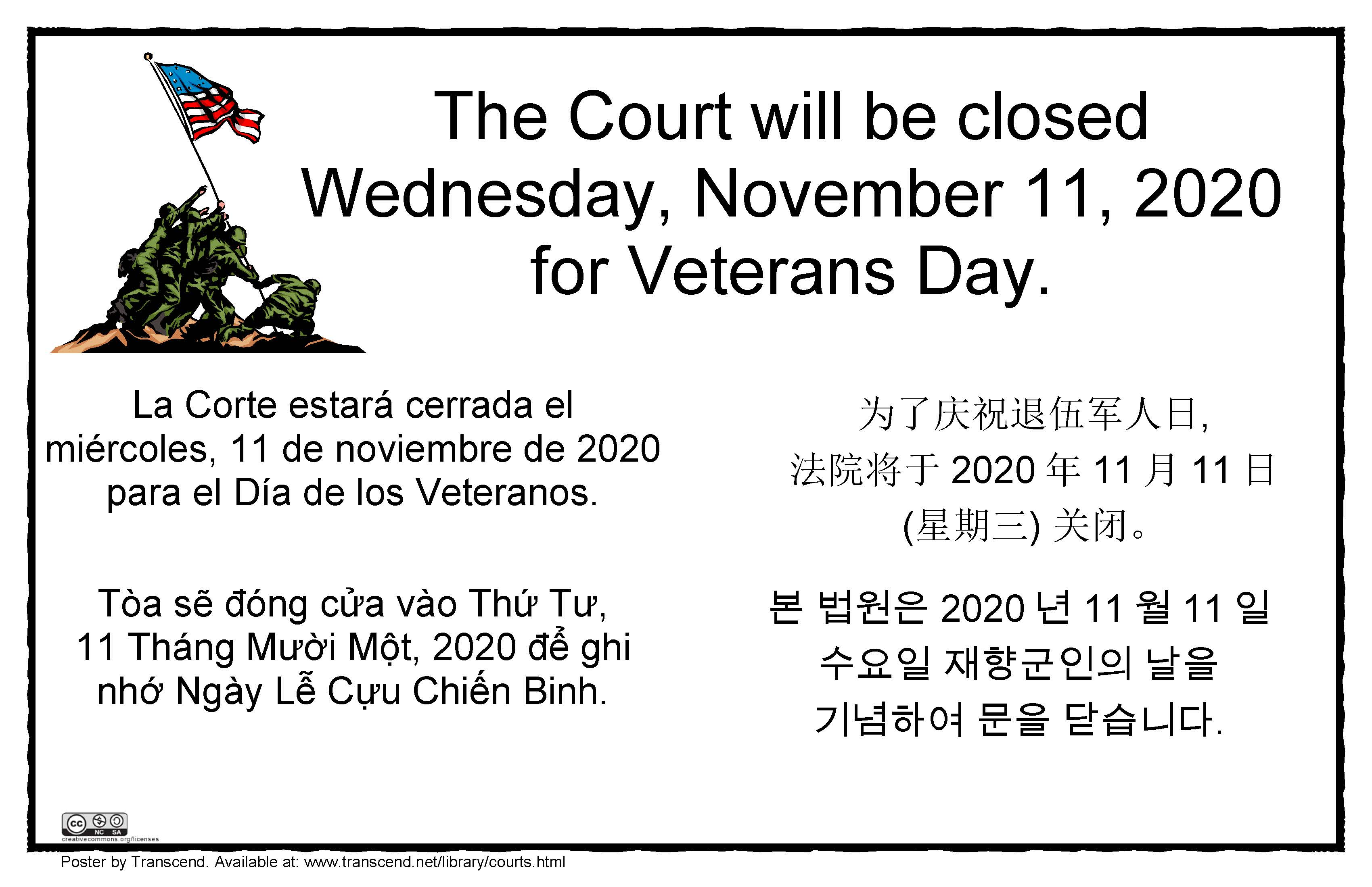 Veterans Day holiday sign