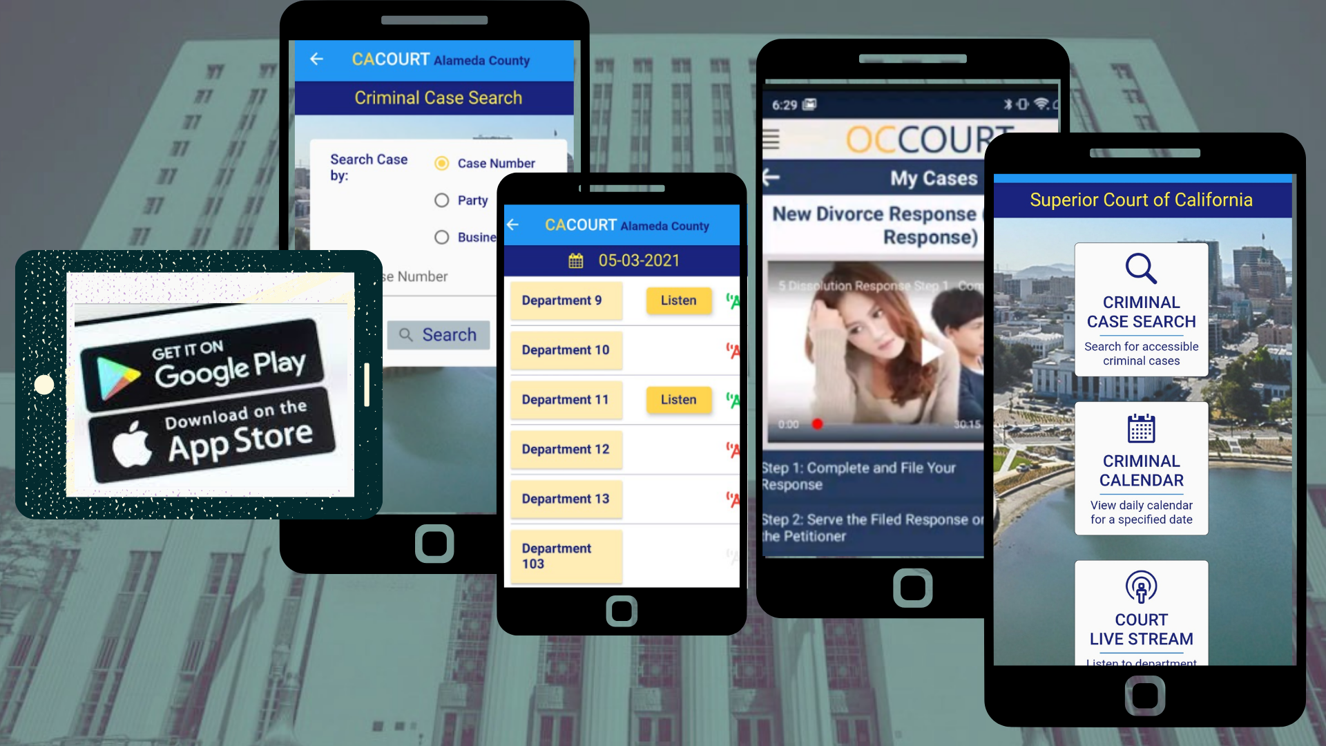mobile screens with court APP menus
