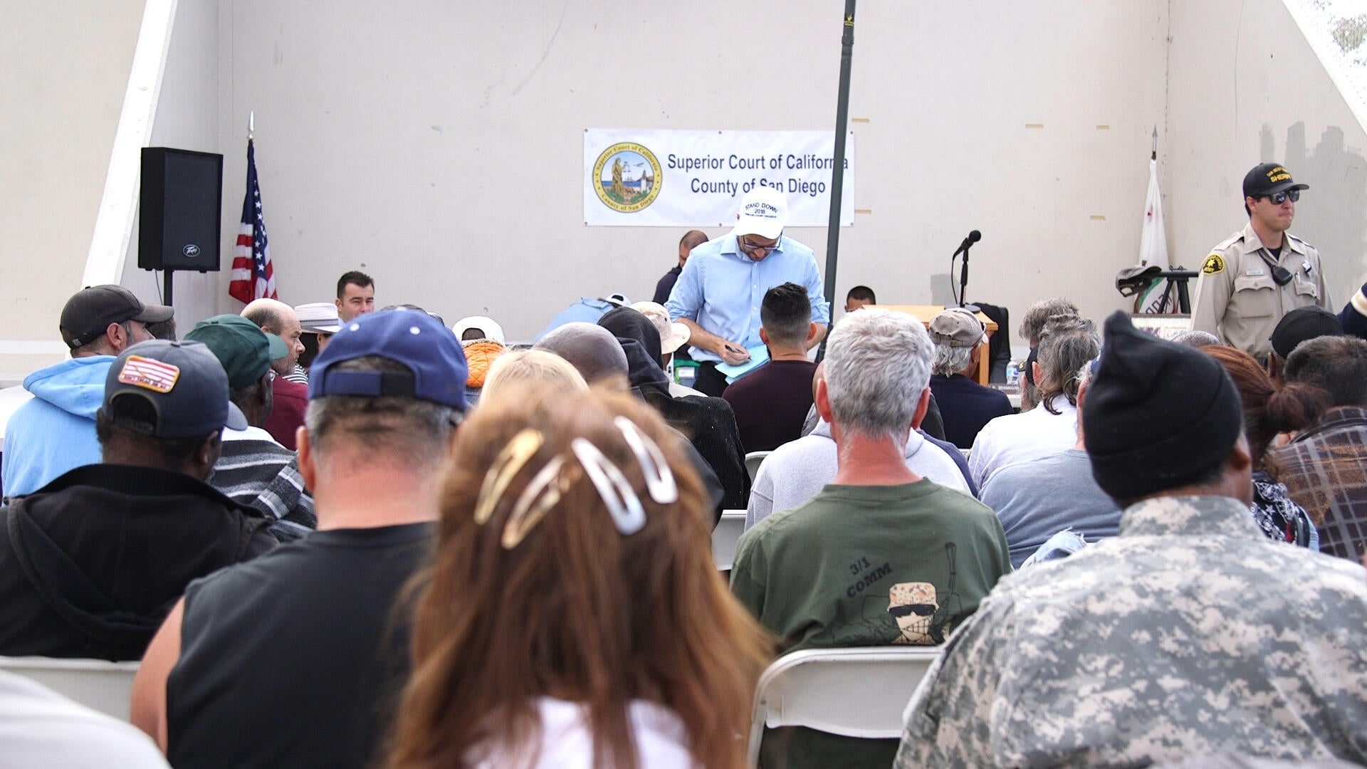 Dozens of homeless veterans register for Homeless Court, a special court session offered by the San Diego Superior Court. The goal of homeless court is to help homeless people resolve minor misdemeanors and infractions.
