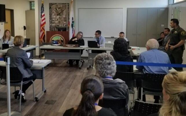 The Orange County court's emergency exercise simulated an actual courtroom proceeding, including a court commissioner, the parties, and security personnel.