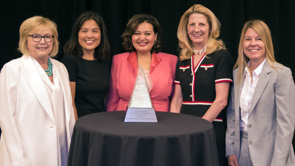 2019 Margaret Brent Award recipients (left to right): Hon. Judith McConnell, Julie A. Su, Raquel Aldana, Michelle Banks and Kelly M. Dermody