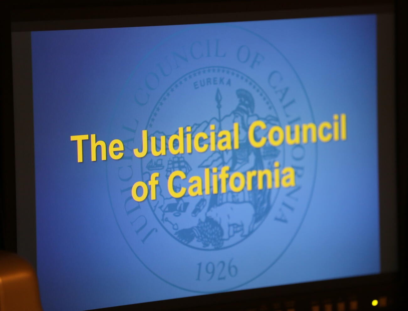 Judicial Council Title text on teleprompter