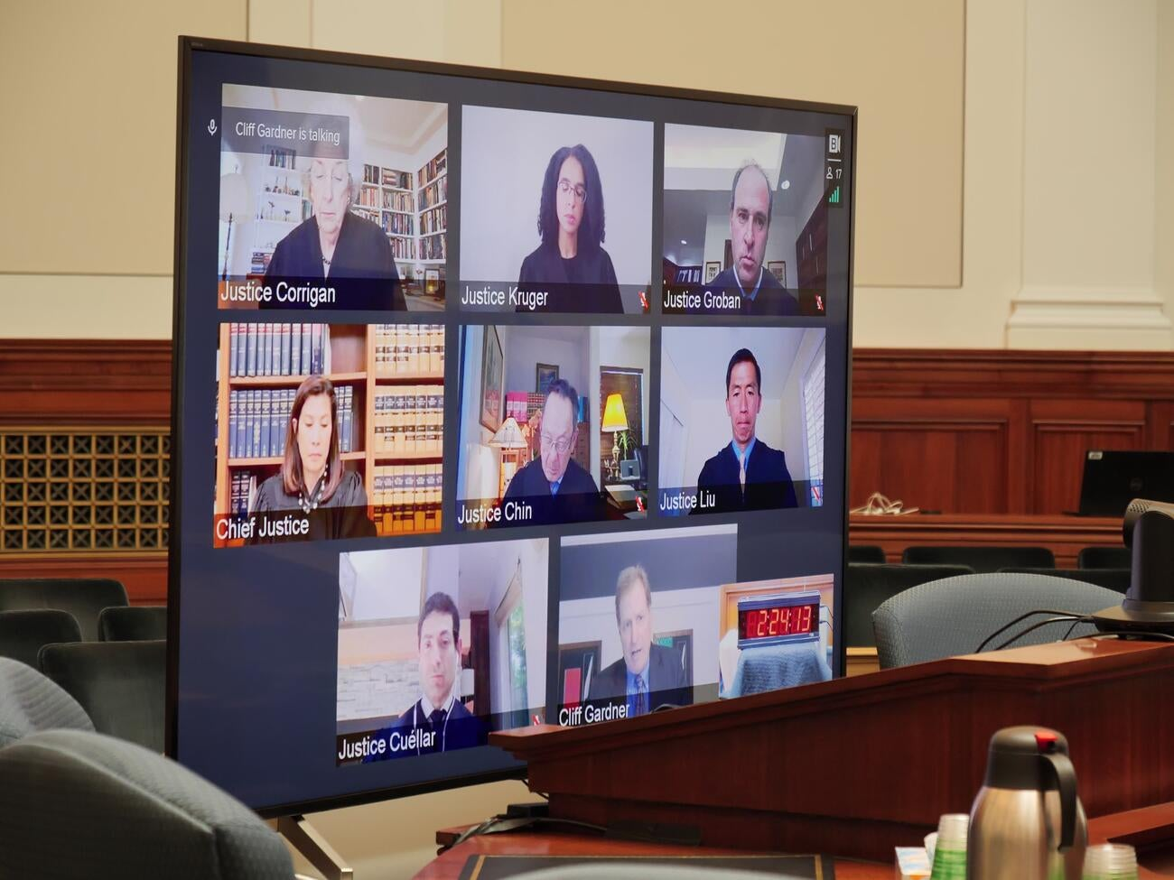 Supreme Court and respondents appearing on virtual screen
