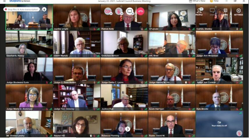 Judicial Council members participate remotely at the January 22, 2021 business meeting.