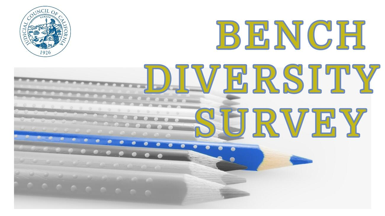 graphic of pencils black and white with one blue standing out text reads bench diversity survey
