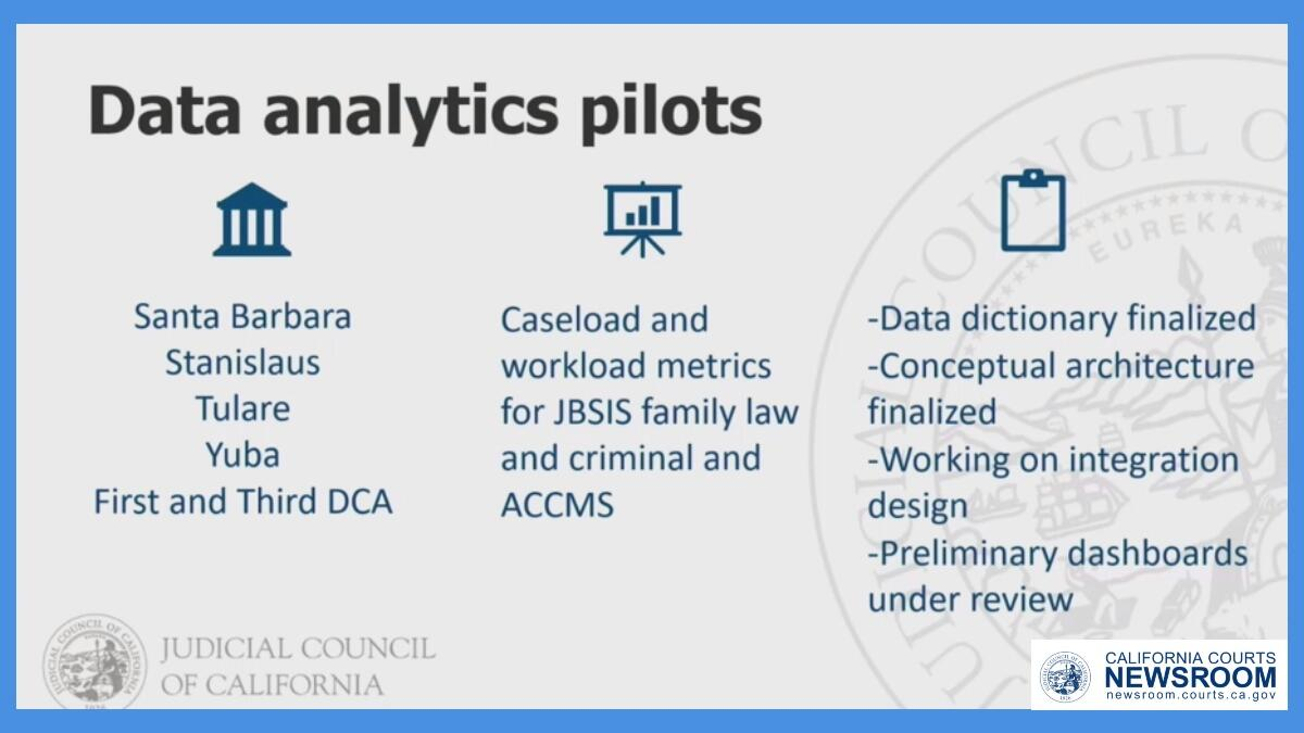 graphic showing notes on data policy concepts for California judicial branch