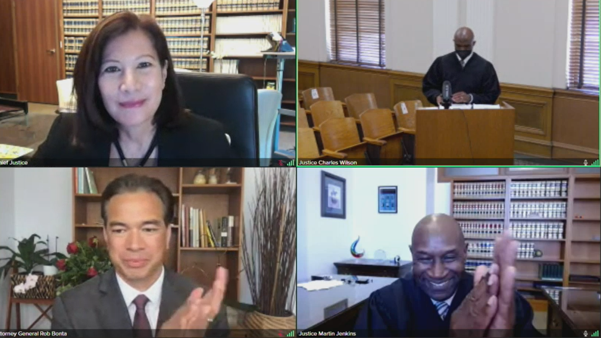 screenshot of virtual hearing chief justice attorney general justice jenkins and justice wilson