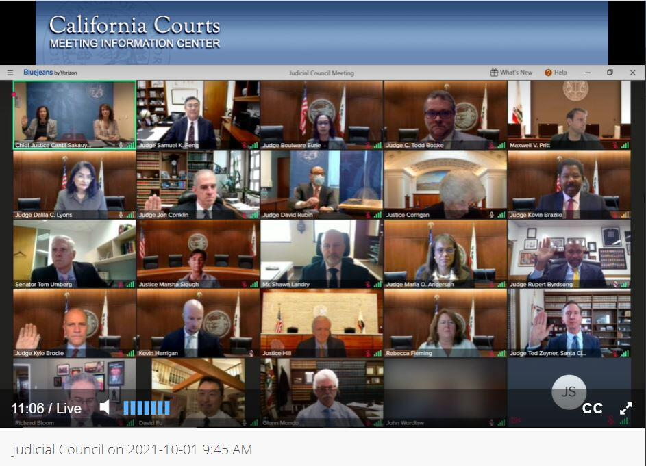 Judicial Council members attending Oct. 1 meeting remotely - new members raise their hands to take the oath of service