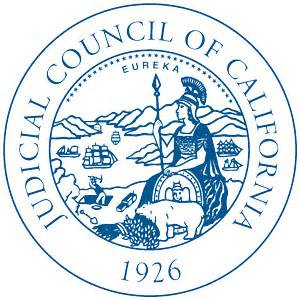 Blue on white  seal of the judicial council