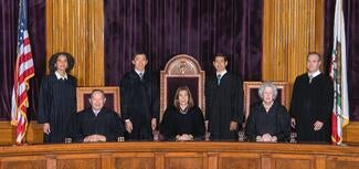 Official bench photo of justices kruger, chin, liu, cantil-sakauye, cuellar, corrigan, and groban