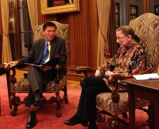 Justice Goodwin Liu with Justice Ginsburg