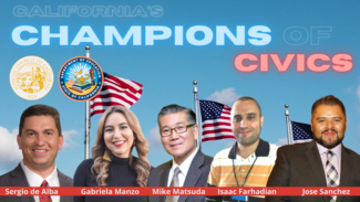 cut out images of each of the recipients in front of a video of U.S. flags. california's champions of civics in glow font.