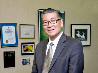 This image shows Michael Matsuda, the superintendent of the Anaheim Union High School District.