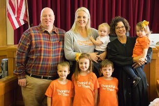 Placer County Superior Court Judge Colleen Nichols with the Schmidt family on National Adoption Day.