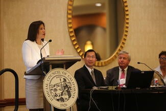 Chief Justice Tani G. Cantil-Sakauye speaks to attendees at the Judicial Branch Technology Summit.