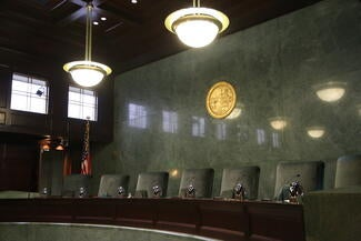 Interior: Courtroom for the Court of Appeal, Second District and the state Supreme Court when oral arguments are heard in Los Angeles. map
