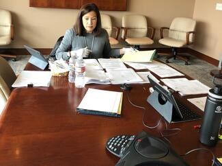 Judicial Council Chair, Chief Justice Tani G. Cantil-Sakauye ran the call from council's office in Sacramento.