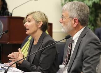 Judge Lisa Rodriguez (left) and Judge Brian Back, co-chairs of the Pretrial Detention Reform Workgroup.
