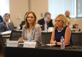 Judge Lorna A. Alksne (right), chair of the council's Workload Assessment Advisory Committee, along with Judicial Council staff Kristin Greenaway explained that more than 900 judges took part in the judicial workload time study that helped to determine overall judicial need statewide.