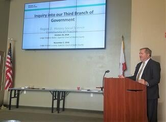 Shasta County Judge Stephen Baker showed teachers the resources available for creating lessons about the courts.