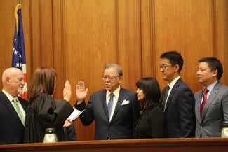Justice Elwood Lui is sworn in by Chief Justice Tani G. Cantil-Sakauye.