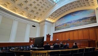 Social distancing in the Supreme Court of California's courtroom in San Francisco. May 5, 2020