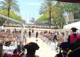The crowd at Loyola Law School's commencement ceremony (photo credit @KWestFaulcon)