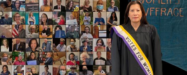 collage of students with overlay chief justice in robe and suffrage sash