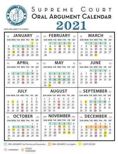 2021 Supreme Court Calendar Images